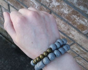 Gray Ceramic Bead Double Wrap Bracelet
