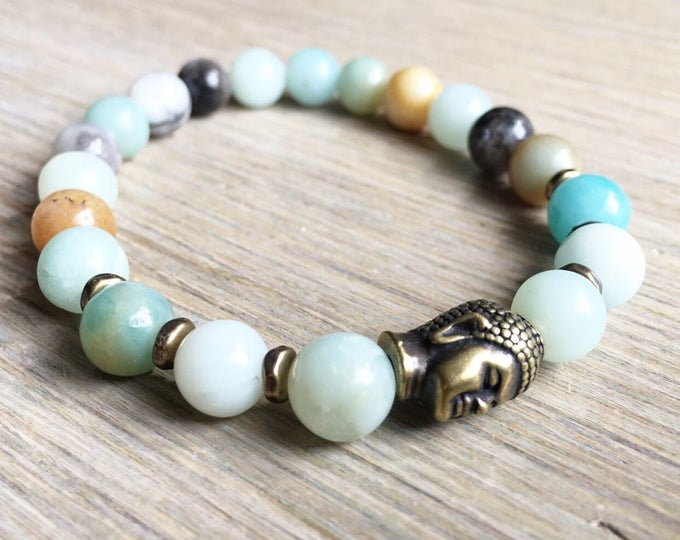 Rainbow Amazonite Bracelet, Buddha Bracelet, Yoga Bracelet, Meditation, Chakra Healing, Stretch Cord