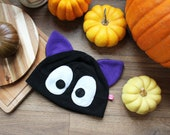 Jiji inspired anime black cat cosplay fleece beanie hat, great gift for a cat lover or geeky friend, also great for mothers day