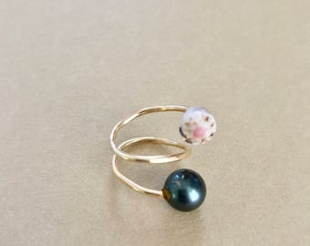 Tahitian Pearl & Shell Ring