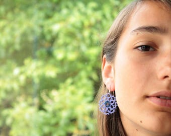 Lightweight earrings handmade lace - creamy white or blue lavender colors - round - sterling silver earring findings - gift for friend