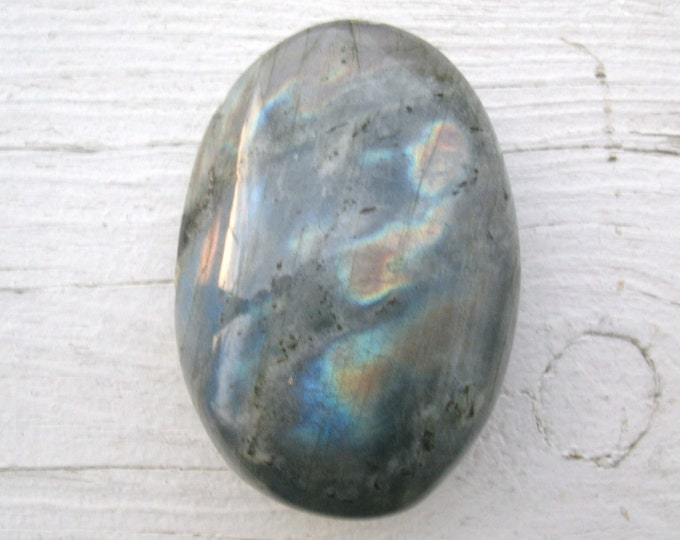 Labradorite Palm Stone, Silvery, multi colored flash, polished, metaphysical, crystal healing, meditation, display specimen, silvery tone