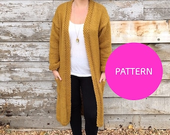 Knit Pattern Only, All day Cardigan, Knit cardigan, cardigan DIY, knitting pattern, long knit duster, knitatude knit, cardigan
