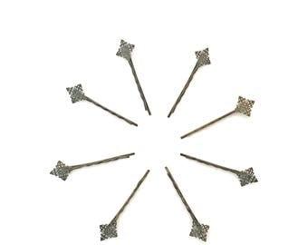 8pcs antiqued bronze filigree bobby pin blank, filigree bobby pin, bobby pin blank, small bobby pin blank, antiqued bronze bobby pin