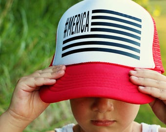 Merica Trucker Hat - Adult + Youth - SandiLake Clothing #merica, fourth of july hat, america hat, use, 4th of july hat