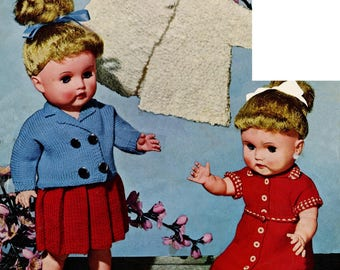 "17"" Dolls Clothes Knitting Pattern 4 ply Blazer, Pleated Skirt pdf"