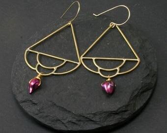 Siren Earrings, Pearl Earrings, 14k Gold Fill, Brass Earrings, Fuchsia Earrings, Boho Jewelry, Simple Dangle Earrings, Mermaid Jewelry