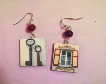 Key & Window, Gold Vintage poster, Retro, Wooden Geometric, Square, Wooden, Handmade Beaded earrings,Funky Art, Vintage Flair, Freaky Style