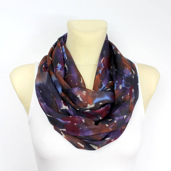 Purple Silk Scarf Silk Infinity Scarf Printed Silk Scarf Silk Loop Scarf Summer Outdoors Summer Party Personalized Gift Personalized Womens