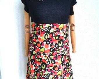 dress, linen dress, orange and black linen, orange, lime green and black polka dot dress