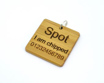 Personalised Bamboo Pet Tag - Dog Tag - Engraved Dog Tag - Wooden Dog Tags For Dogs - Pet ID Tag