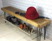 vintage industrial hairpin legs reclaimed rustic timber hallway shoe storage rack bench seat