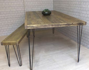 hairpin legs vintage industrial reclaimed timber mid century dining table and one bench