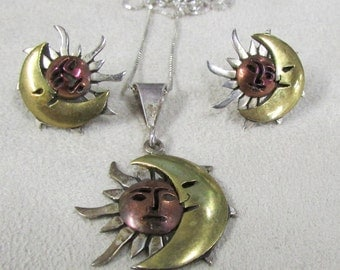 Sterling Silver, Copper and Brass Sun and Moon Necklace & Earring Set