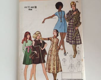 Butterick 5887 1970s Dress Sewing Pattern Bust 36""