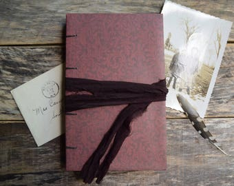 Coptic Stitch Writing Journal Rustic Bohemian Journal Hand Bound Notebook with Sari Silk Wrap, Gift for Writers, Hard Cover Notebook