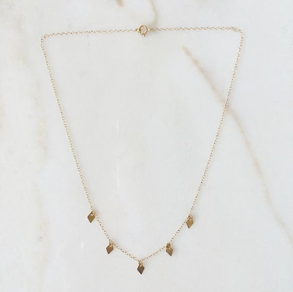 Dangling Diamonds necklace | Gold necklace with three or five diamond shaped charms | 14k gold filled