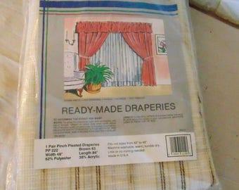 MAX KAHN Fashion Ready Made Draperies NOS 1 pair pinch pleated drapes