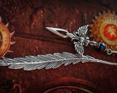 Feather Bookmark - Winged Dagger - Medieval - Gothic - Fantasy - Silver - Black AB - Myths and Legends - Reader - Game of Thones - Books