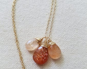 Sunstone Pendant, Gold Filled Jewelry, Natural Sunstone, Gold Necklace, Natural Sunstone Gemstone