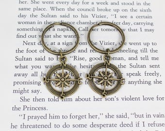 Compass Keychain, Best Friend Gift, BFF Gift, No Matter Where, Long Distance, Not All Who Wonder Are Lost, Graduation Gift, Friendship Gift