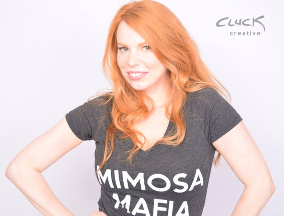 MIMOSA MAFIA womens V-neck shirt - Made with Love in Tulsa, Oklahoma by Artist Steve Cluck - 20% off with the coupon code MIMOSA