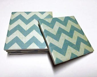 Light Blue Chevron Coasters - Chevron Drink Coasters - Chevron Decor - Tile Coasters - Ceramic Coasters - Table Coasters
