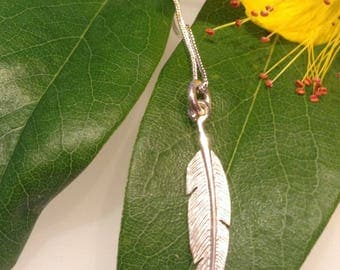 Silver Feather Necklace, Feather Pendant and Chain, Feather Charm Necklace, gift for her, Sterling Silver Jewellery, Silver Feather Necklace
