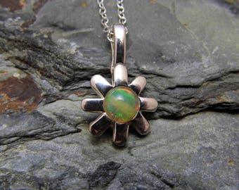 Ethiopian Opal Pendant Opal Flower Pendant Opal Necklace Sterling Silver Daisy Flower Necklace