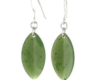 Canadian Nephrite Jade Earrings, Leaf 1882
