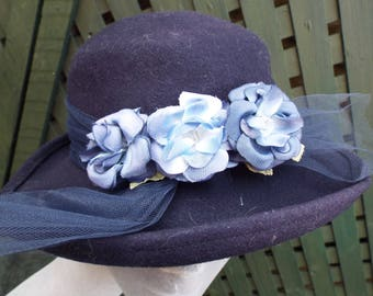 Vintage Ladies Hat 1950's Blue Wool Brimmed Fedora Style Hat with Matching Flowers with Blue Netting Banding and Bow