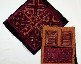 Two hand sewn embroidered Afghan dress fronts