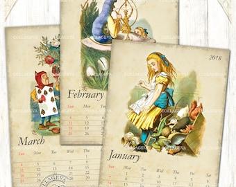 "Alice in Wonderland 2018 Digital Calendar, Printable DIY Monthly Calendar, 5x7"" PDF & JPEG Instant Download Tenniel Vintage Shabby (C015-18)"