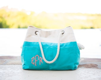 Monogrammed Canvas Beach Tote | Beach Tote Bag | Canvas Tote Bag | Rope Beach Bag | Pool Bag | Monogrammed Gift | Bridesmaid Gift | Beaufort