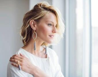 Hoop Tassel Earrings, Tassel Earrings, Long Tassel Earrings, Tassel Jewelry, Oversized Earrings, Statement Earrings, Fashion Earrings