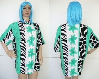 FUNNY SHIRT -short sleeve, green, white, black, zebra, cow, animal print, 80s, cyber, indie, hipster, prince of bel air, club kid, summer-