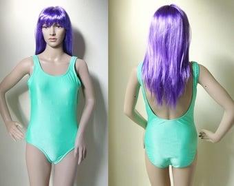 PASTEL GREEN SWIMSUIT -swimwear, body, pale, fairy, ribbed, shiny, cyber, seapunk, hippie, mint, girl, cute, kawaii, stripes, sexy, lycra-