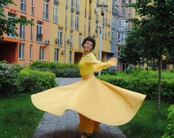 Whirling Skirt, Yellow Sufi Skirt, Skirt for Whirling