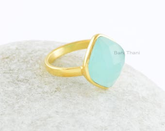 Aqua Chalcedony Ring-Aqua Chlcedony Faceted 11x14mm Marquise Sterling Silver Ring-Micron Gold Plated Gemstone Ring-Bezel Statement Ring