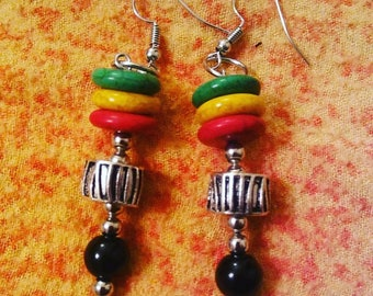 Red Gold and Green Earrings by Jukeboxx Jewelry & Crochet