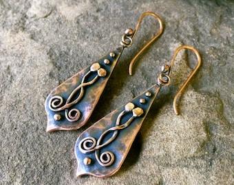 Connection - Handmade Artisan Copper Tear Drop Earrings