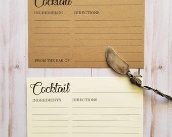 Cocktail 》RECIPE CARDS 《 Modern/Rustic Wedding/ Bridal Shower/Housewarming/ Birthday Gift/Bachelorette Party