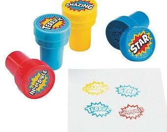 12/ Superhero party Stamps / Party favors/ superhero party / superhero party favors