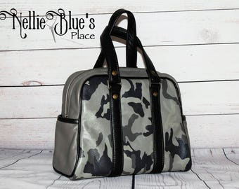 Camo Leather Handbag in Graphite Gray with Black Leather Handles / Camouflage Bag (Ready to Ship)
