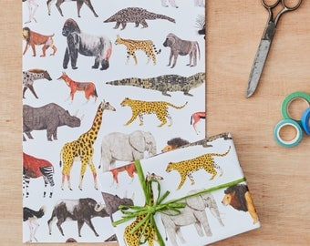 Animal Gift Wrap, Gift Wrapping Paper, Animal Print, Birthday gift wrap, kids gift wrap, gift paper, lion, elephant, monkey, Four Sheets
