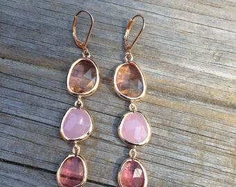 Long Pink Dangle Earrings, Bridesmaid Earrings, Pink Earrings, Wedding Earrings, Bridal gift, Wedding Gift, Gold Earrings