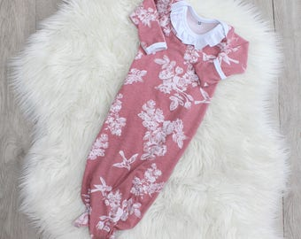 Dusty Pink Knot Gown - Floral Baby Girl - Ruffle- Fold Over Mitts - Baby Gown - Baby Girl- New Baby - 0-3 Months