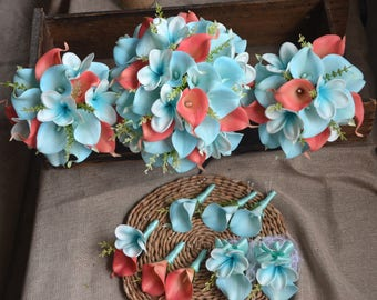Coral Blue Wedding Bouquets Package Real Touch Flowers Calla Lilies Plumerias Bridesmaids Bouquets Boutonnieres