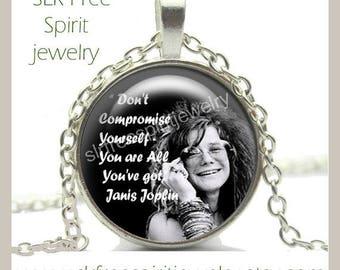 Boho Jewelry, Famous Musicians, Janis Joplin, Retro, Inspirational Quote, Quote Jewelry, Boho Jewelry, Photo Necklace, Rocker, Rock-n-Roll,