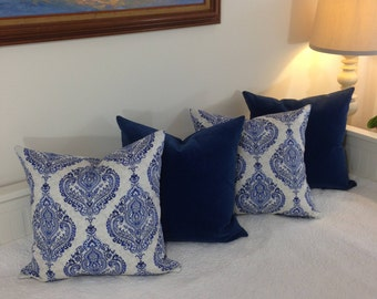 Blue pillow cover,Waverly pillow cover,Waverly cotton pillows,Medium pillow,Elegant pillow covers,Boho pillow cover,
